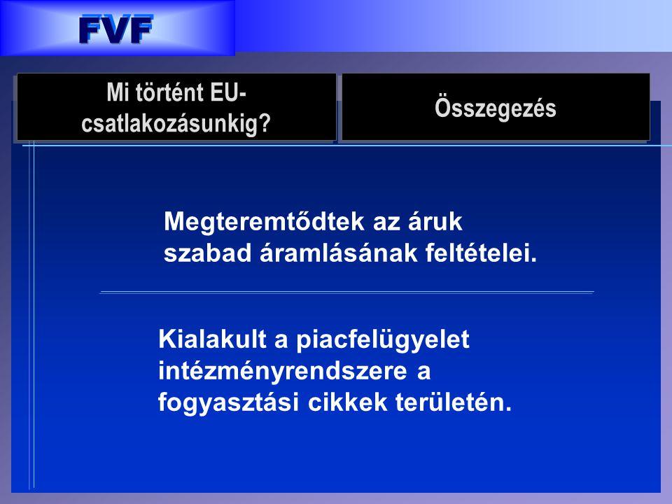 FVF Megteremtődtek az áruk szabad áramlásának feltételei. Kialakult a piacfelügyelet intézményrendszere a fogyasztási cikkek területén. Mi történt EU-