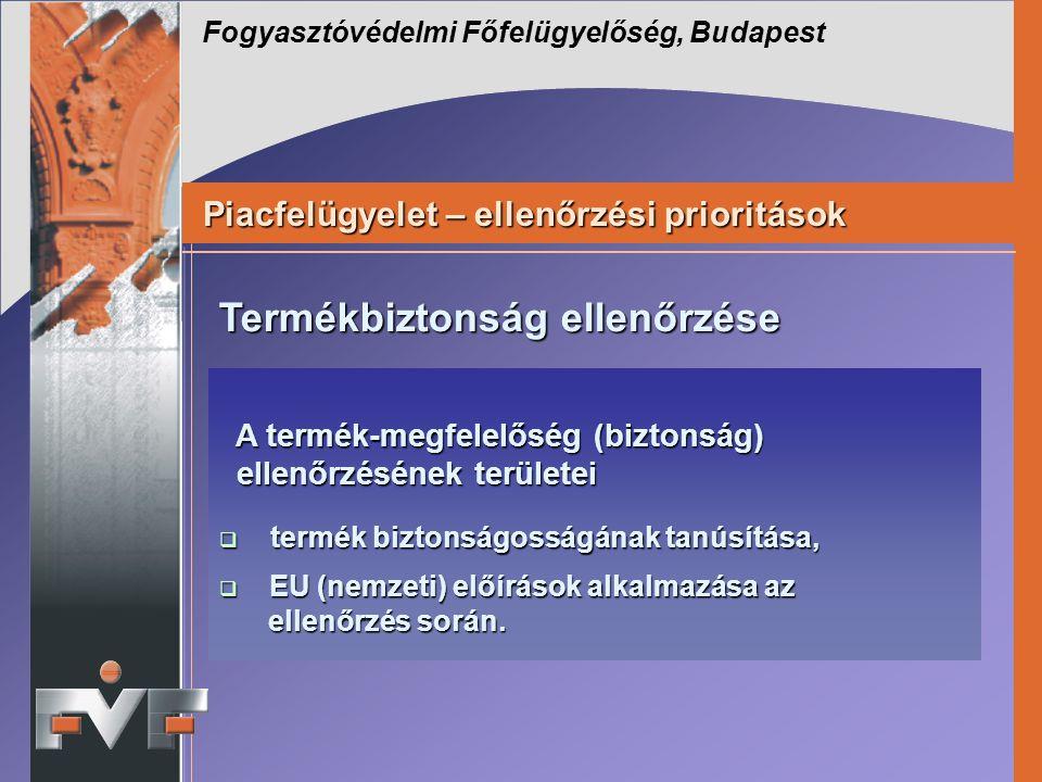 Fogyasztóvédelmi Főfelügyelőség, Budapest Piacfelügyelet – ellenőrzési prioritások Piacfelügyelet – ellenőrzési prioritások A termék-megfelelőség (biz