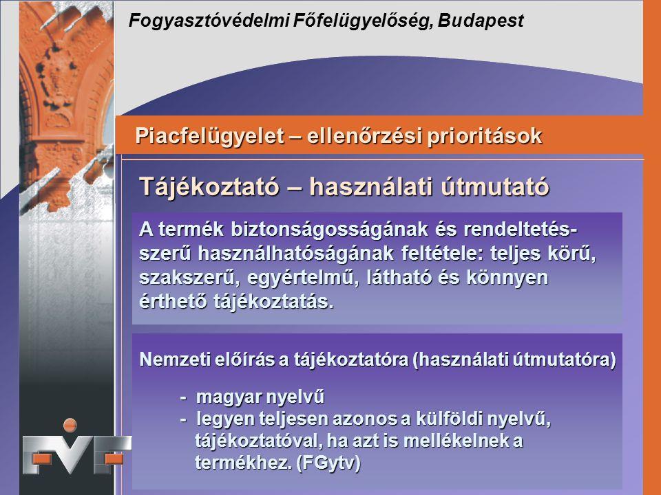 Fogyasztóvédelmi Főfelügyelőség, Budapest Piacfelügyelet – ellenőrzési prioritások Piacfelügyelet – ellenőrzési prioritások Nemzeti előírás a tájékozt