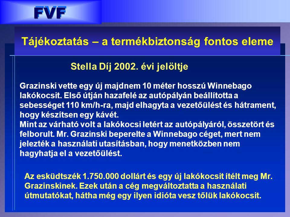 FVF Stella Díj 2002. évi jelöltje Grazinski vette egy új majdnem 10 méter hosszú Winnebago lakókocsit. Első útján hazafelé az autópályán beállította a