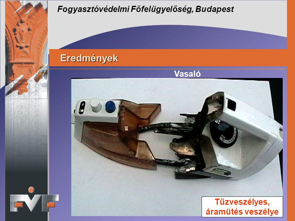 Fogyasztóvédelmi Főfelügyelőség, Budapest Eredmények Eredmények Vasaló Tűzveszélyes, áramütés veszélye