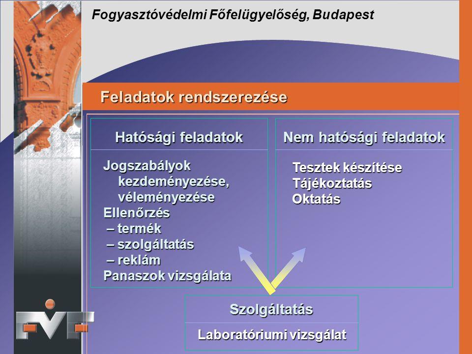 Feladatok rendszerezése Feladatok rendszerezése Fogyasztóvédelmi Főfelügyelőség, Budapest Jogszabályok kezdeményezése, véleményezése Ellenőrzés – term