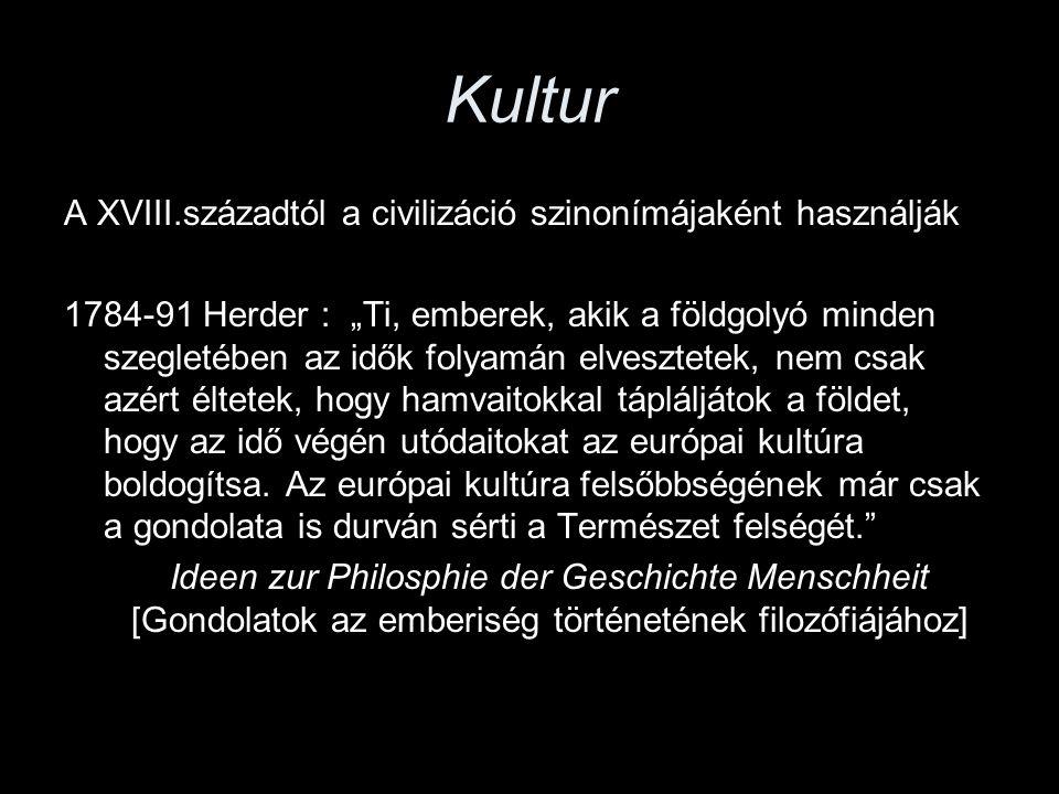 """Kultur A XVIII.századtól a civilizáció szinonímájaként használják 1784-91 Herder : """"Ti, emberek, akik a földgolyó minden szegletében az idők folyamán"""