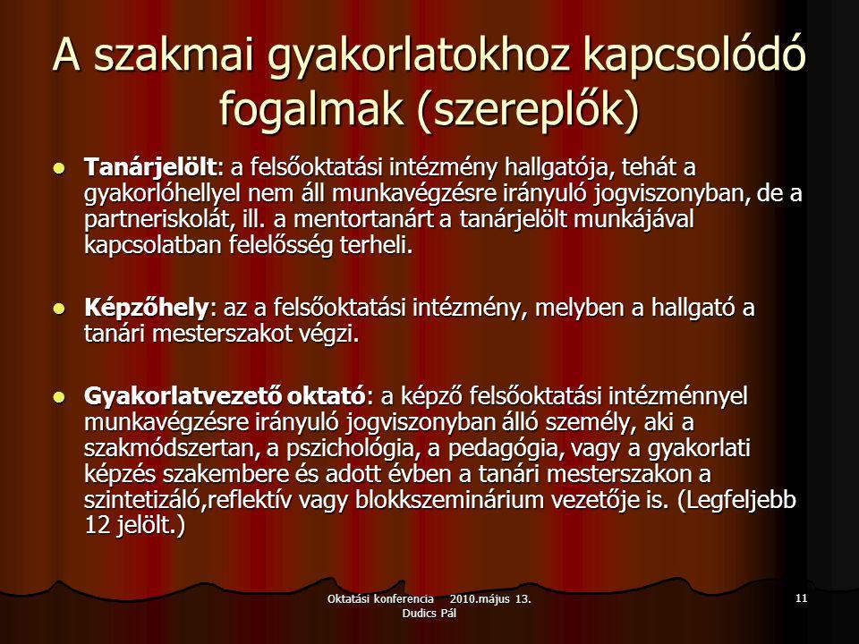 Oktatási konferencia 2010.május 13. Dudics Pál 11 A szakmai gyakorlatokhoz kapcsolódó fogalmak (szereplők) Tanárjelölt: a felsőoktatási intézmény hall