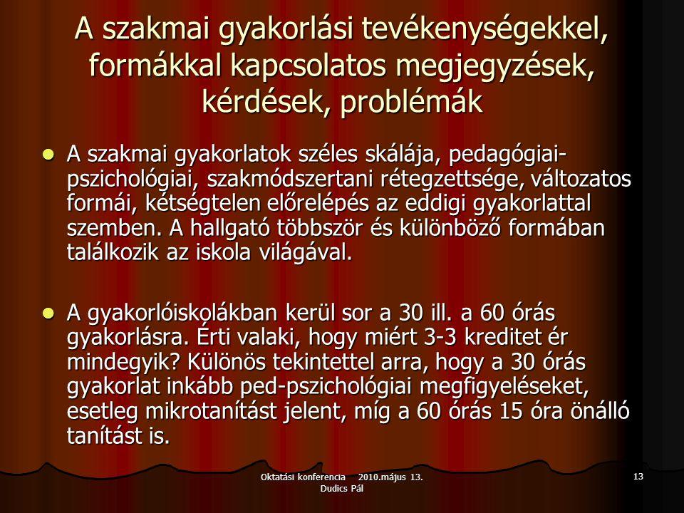Oktatási konferencia 2010.május 13. Dudics Pál 13 A szakmai gyakorlási tevékenységekkel, formákkal kapcsolatos megjegyzések, kérdések, problémák A sza
