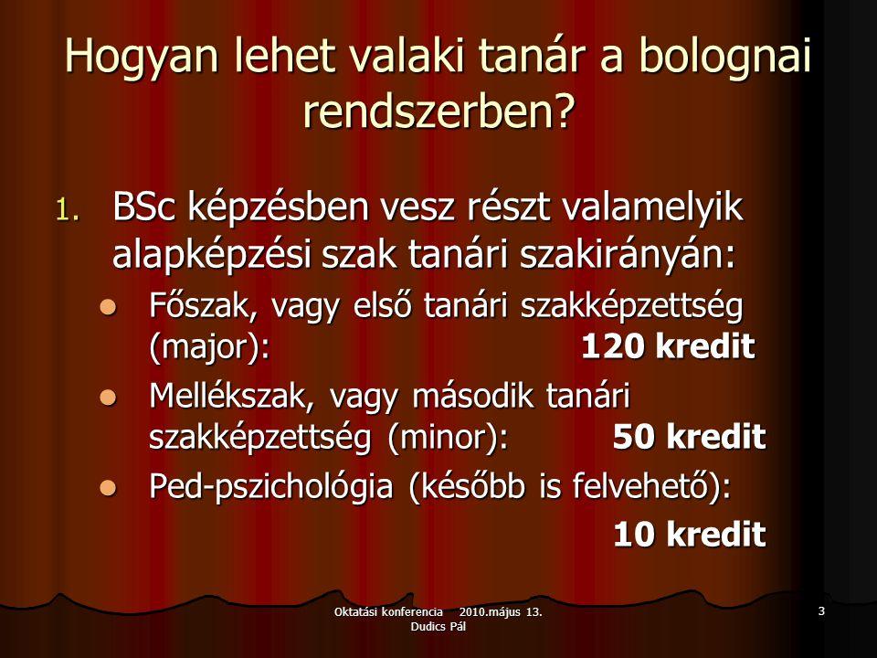 Oktatási konferencia 2010.május 13. Dudics Pál 3 Hogyan lehet valaki tanár a bolognai rendszerben? 1. BSc képzésben vesz részt valamelyik alapképzési