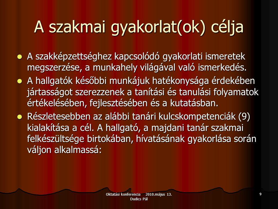 Oktatási konferencia 2010.május 13. Dudics Pál 9 A szakmai gyakorlat(ok) célja A szakképzettséghez kapcsolódó gyakorlati ismeretek megszerzése, a munk