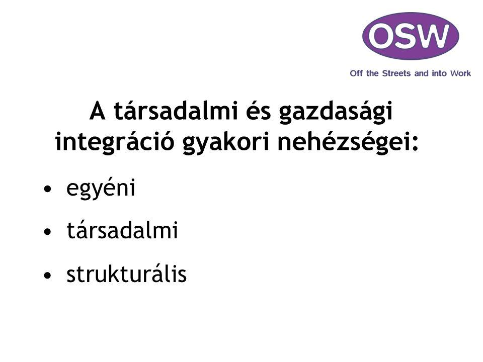 A társadalmi és gazdasági integráció gyakori nehézségei: egyéni társadalmi strukturális