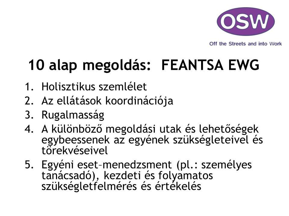 10 alap megoldás: FEANTSA EWG 1.Holisztikus szemlélet 2.Az ellátások koordinációja 3.Rugalmasság 4.A különböző megoldási utak és lehetőségek egybeesse