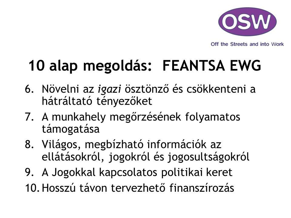 10 alap megoldás: FEANTSA EWG 6.Növelni az igazi ösztönző és csökkenteni a hátráltató tényezőket 7.A munkahely megőrzésének folyamatos támogatása 8.Vi