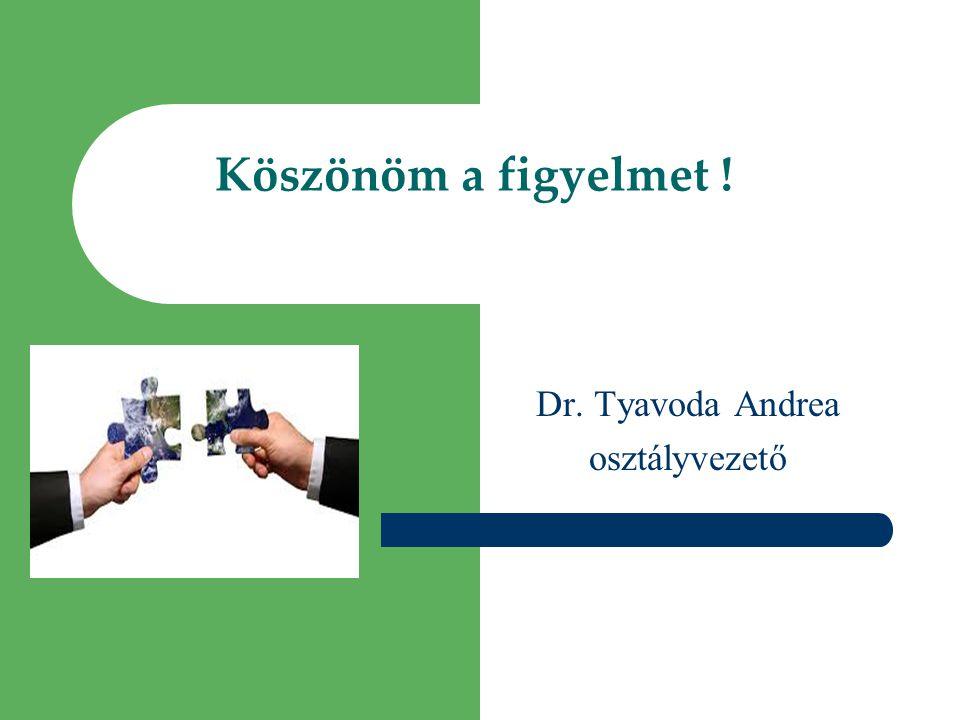 Köszönöm a figyelmet ! Dr. Tyavoda Andrea osztályvezető