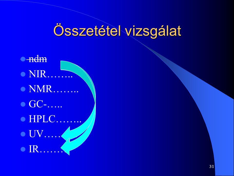 Összetétel vizsgálat ndm NIR…….. NMR…….. GC-….. HPLC…….. UV………. IR……… 31