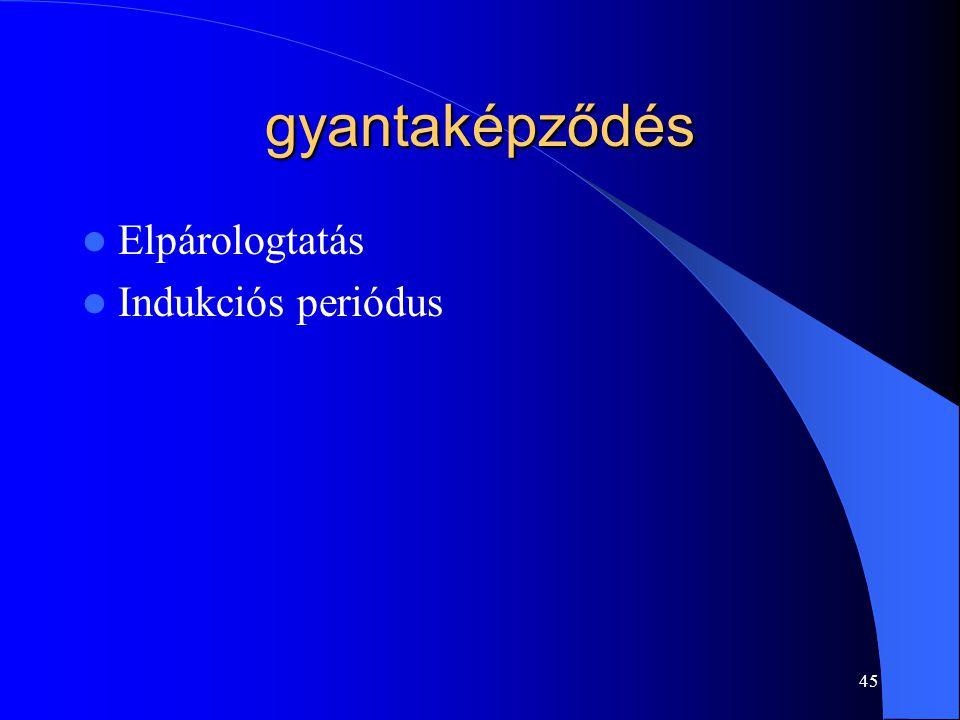 gyantaképződés Elpárologtatás Indukciós periódus 45
