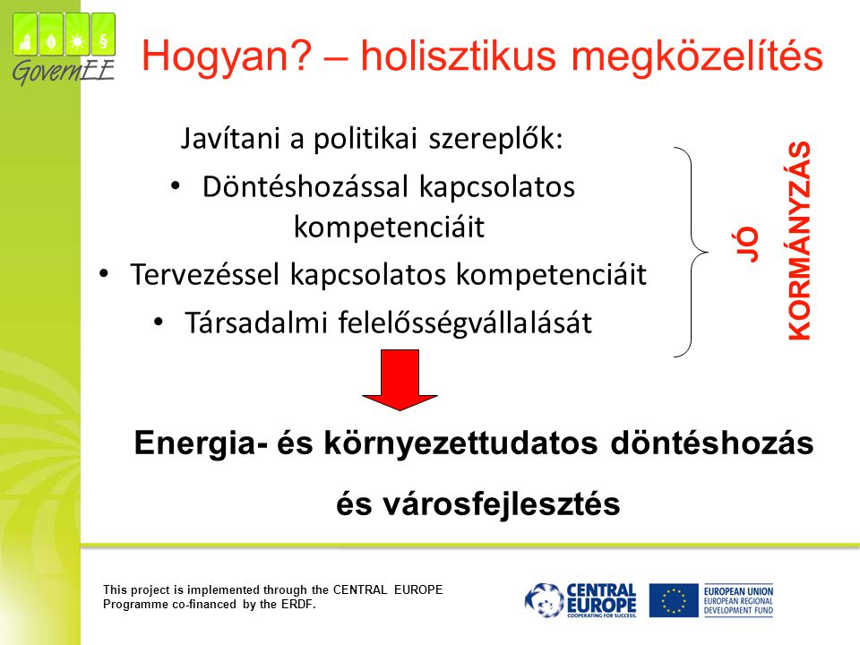 This project is implemented through the CENTRAL EUROPE Programme co-financed by the ERDF. Hogyan? – holisztikus megközelítés Javítani a politikai szer