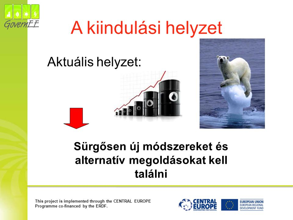 This project is implemented through the CENTRAL EUROPE Programme co-financed by the ERDF. A kiindulási helyzet Aktuális helyzet: Sürgősen új módszerek