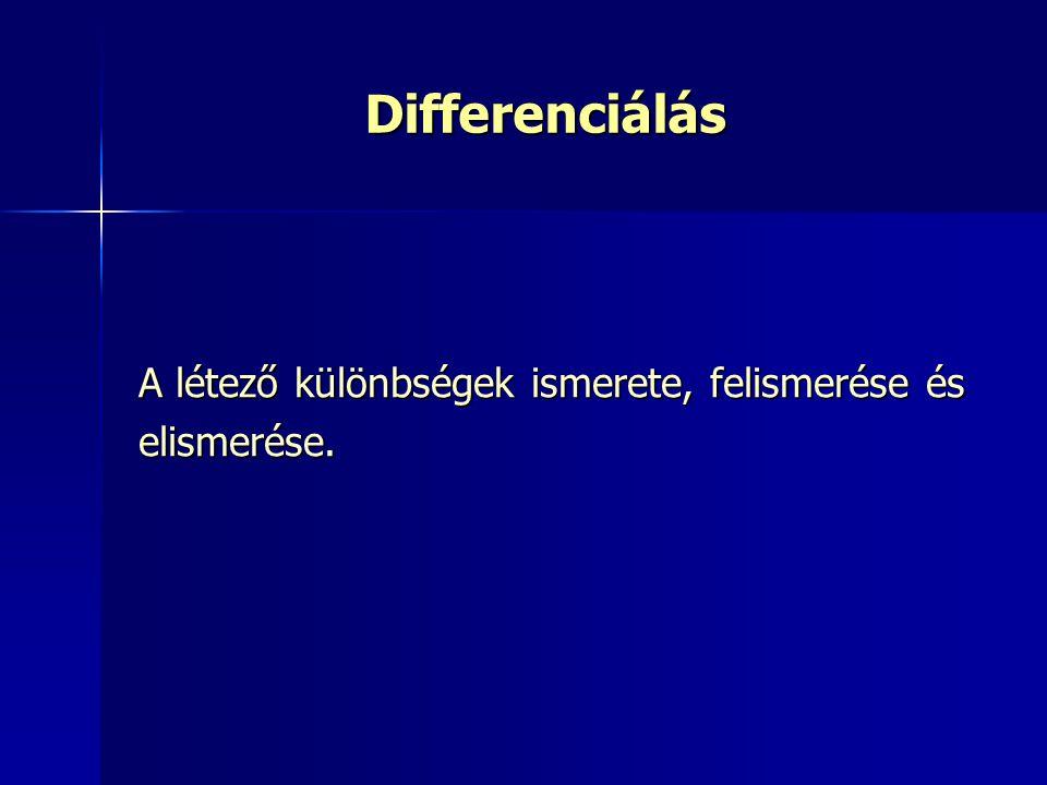 Differenciálás A létező különbségek ismerete, felismerése és elismerése.