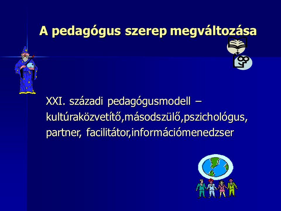 A pedagógus szerep megváltozása XXI. századi pedagógusmodell – kultúraközvetítő,másodszülő,pszichológus, partner, facilitátor,információmenedzser