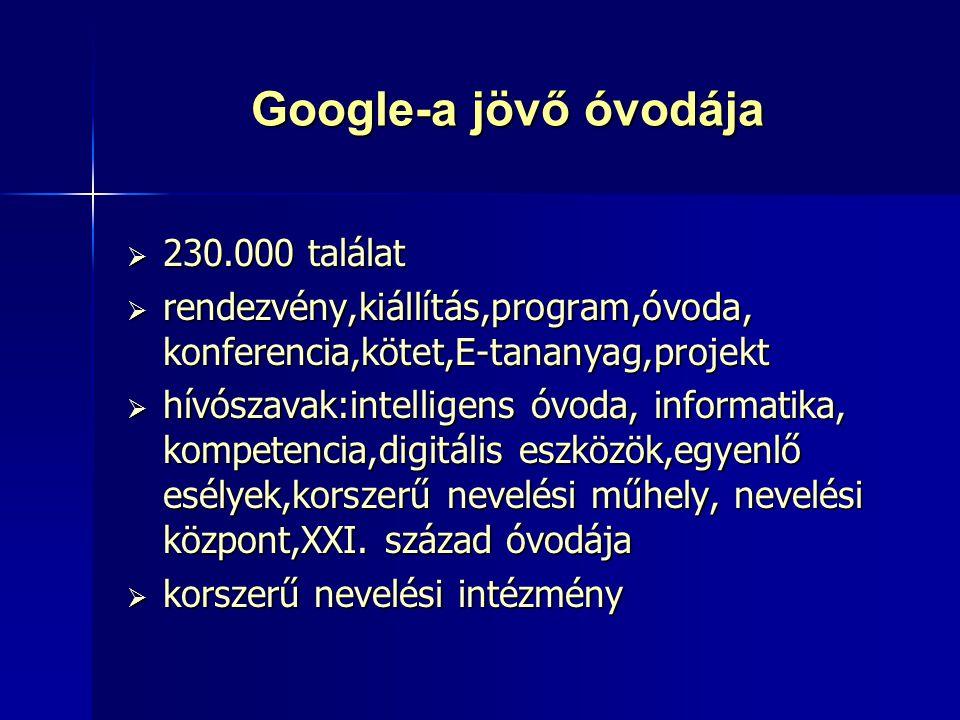 Google-a jövő óvodája  230.000 találat  rendezvény,kiállítás,program,óvoda, konferencia,kötet,E-tananyag,projekt  hívószavak:intelligens óvoda, inf