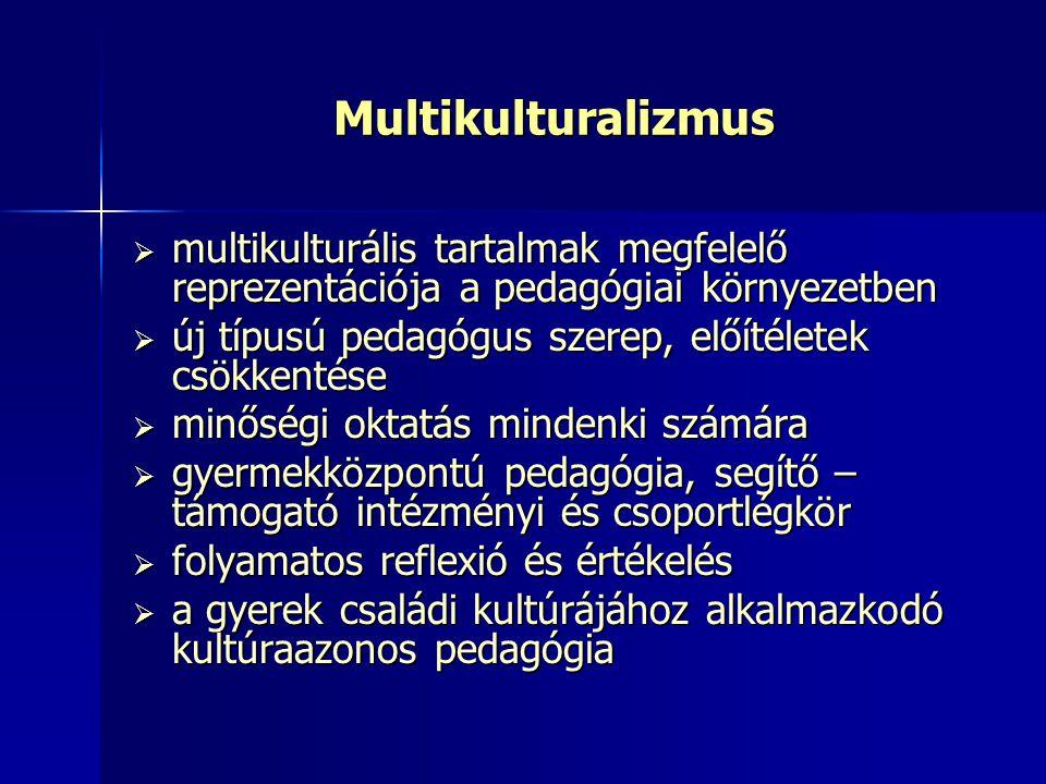 Multikulturalizmus  multikulturális tartalmak megfelelő reprezentációja a pedagógiai környezetben  új típusú pedagógus szerep, előítéletek csökkenté