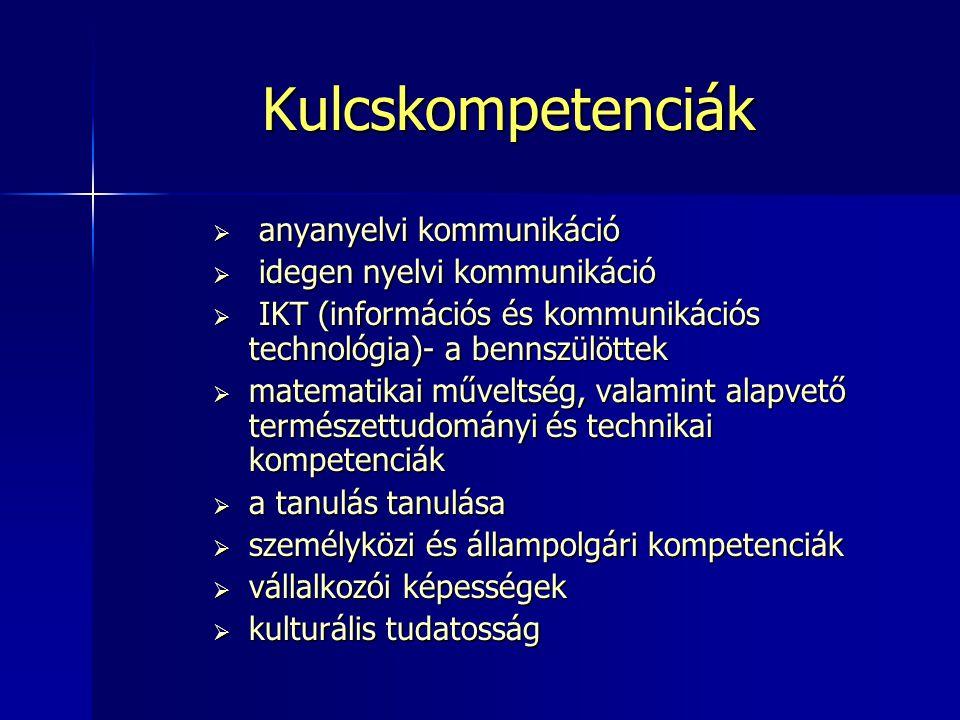 Kulcskompetenciák  anyanyelvi kommunikáció  idegen nyelvi kommunikáció  IKT (információs és kommunikációs technológia)- a bennszülöttek  matematik