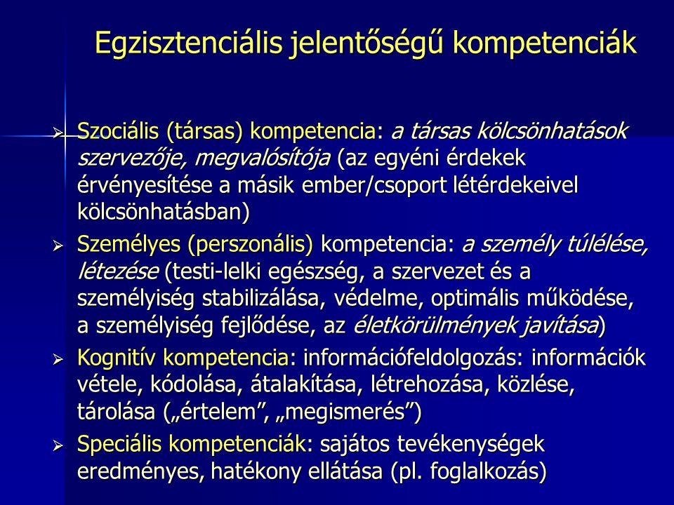 Egzisztenciális jelentőségű kompetenciák  Szociális (társas) kompetencia: a társas kölcsönhatások szervezője, megvalósítója (az egyéni érdekek érvény