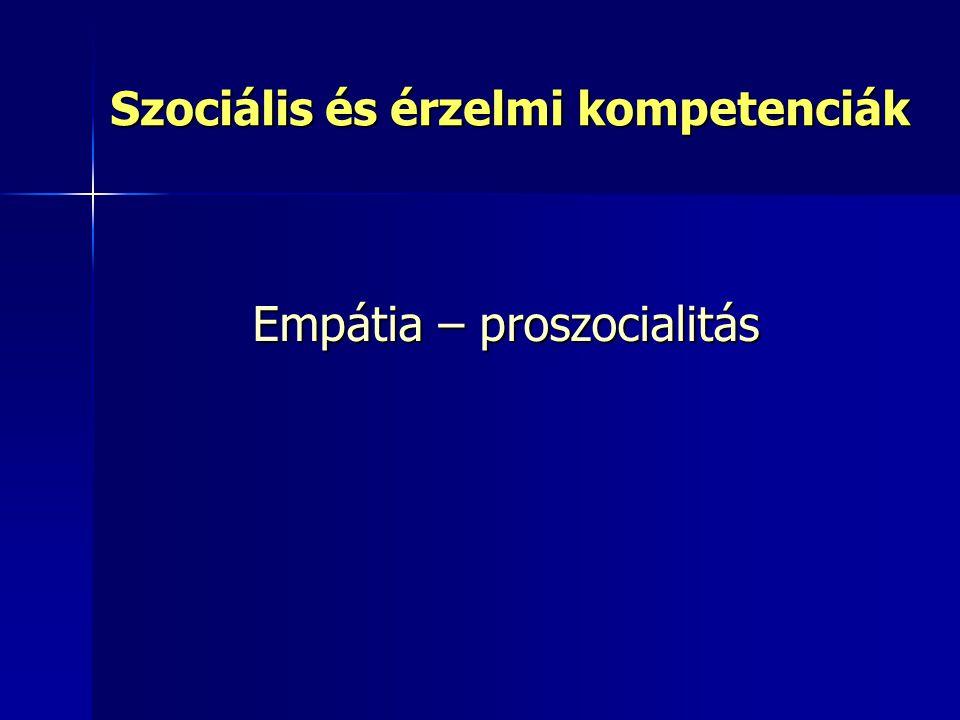 Szociális és érzelmi kompetenciák Empátia – proszocialitás