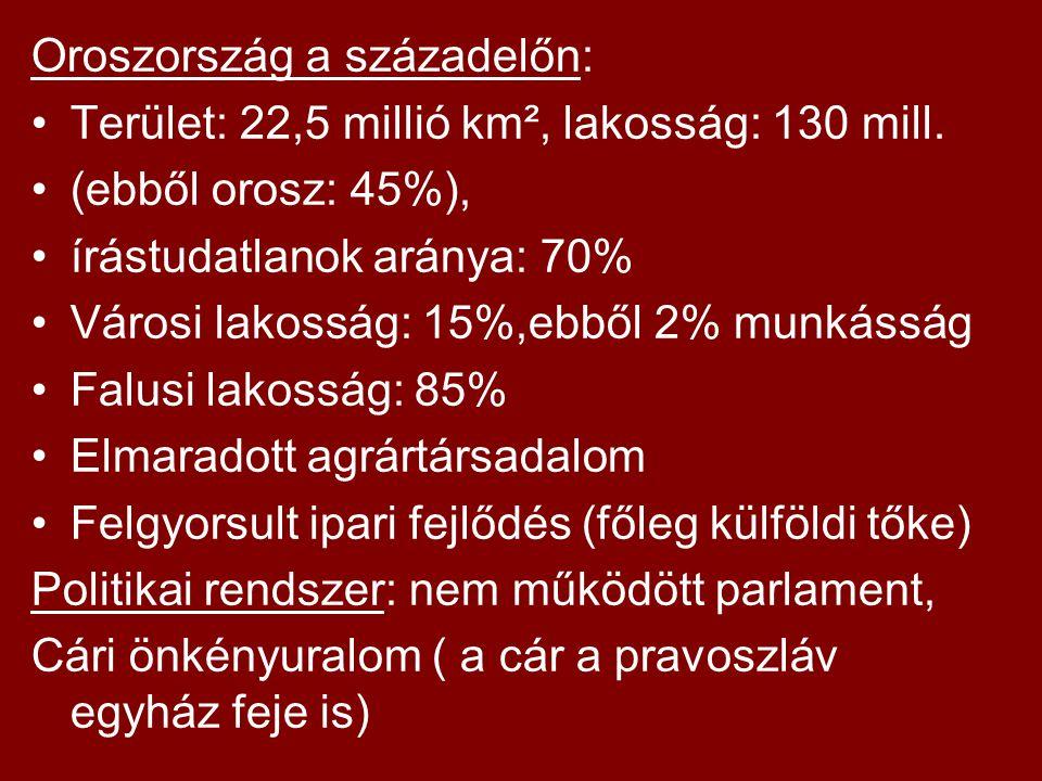 Oroszország a századelőn: Terület: 22,5 millió km², lakosság: 130 mill. (ebből orosz: 45%), írástudatlanok aránya: 70% Városi lakosság: 15%,ebből 2% m