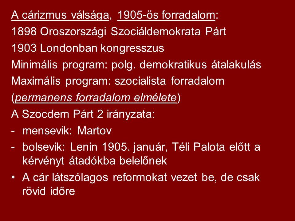 A cárizmus válsága, 1905-ös forradalom: 1898 Oroszországi Szociáldemokrata Párt 1903 Londonban kongresszus Minimális program: polg. demokratikus átala