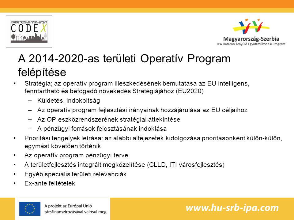 A 2014-2020-as területi Operatív Program felépítése Stratégia; az operatív program illeszkedésének bemutatása az EU intelligens, fenntartható és befogadó növekedés Stratégiájához (EU2020) –Küldetés, indokoltság –Az operatív program fejlesztési irányainak hozzájárulása az EU céljaihoz –Az OP eszközrendszerének stratégiai áttekintése –A pénzügyi források felosztásának indoklása Prioritási tengelyek leírása: az alábbi alfejezetek kidolgozása prioritásonként külön-külön, egymást követően történik Az operatív program pénzügyi terve A területfejlesztés integrált megközelítése (CLLD, ITI városfejlesztés) Egyéb speciális területi relevanciák Ex-ante feltételek