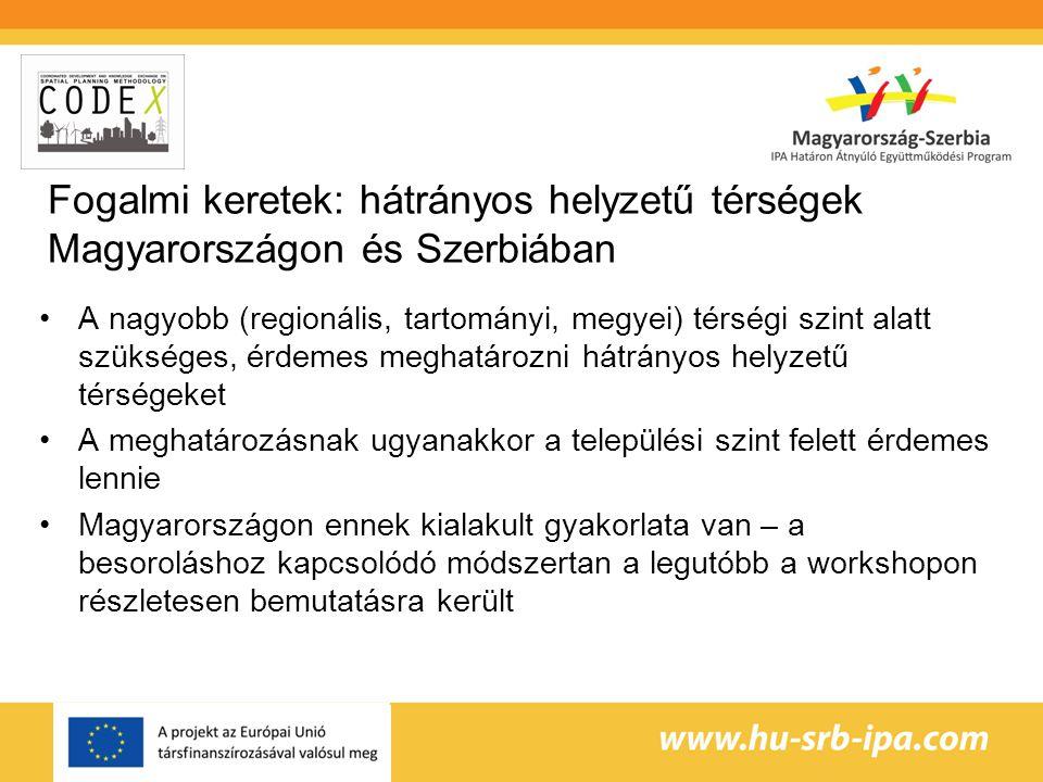 Fogalmi keretek: hátrányos helyzetű térségek Magyarországon és Szerbiában A nagyobb (regionális, tartományi, megyei) térségi szint alatt szükséges, érdemes meghatározni hátrányos helyzetű térségeket A meghatározásnak ugyanakkor a települési szint felett érdemes lennie Magyarországon ennek kialakult gyakorlata van – a besoroláshoz kapcsolódó módszertan a legutóbb a workshopon részletesen bemutatásra került