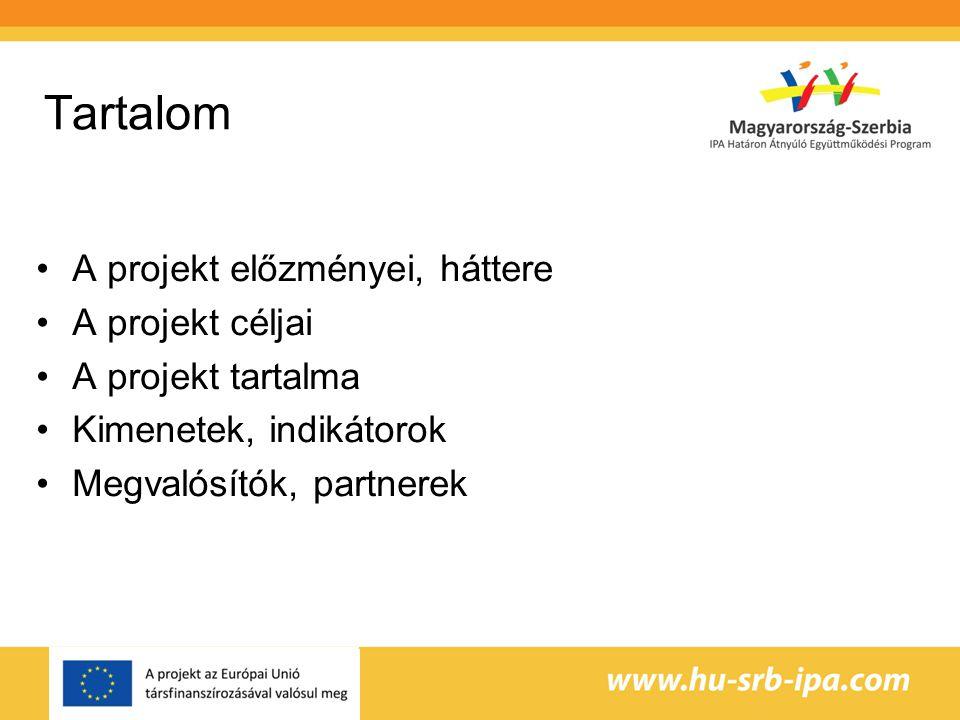 Tartalom A projekt előzményei, háttere A projekt céljai A projekt tartalma Kimenetek, indikátorok Megvalósítók, partnerek