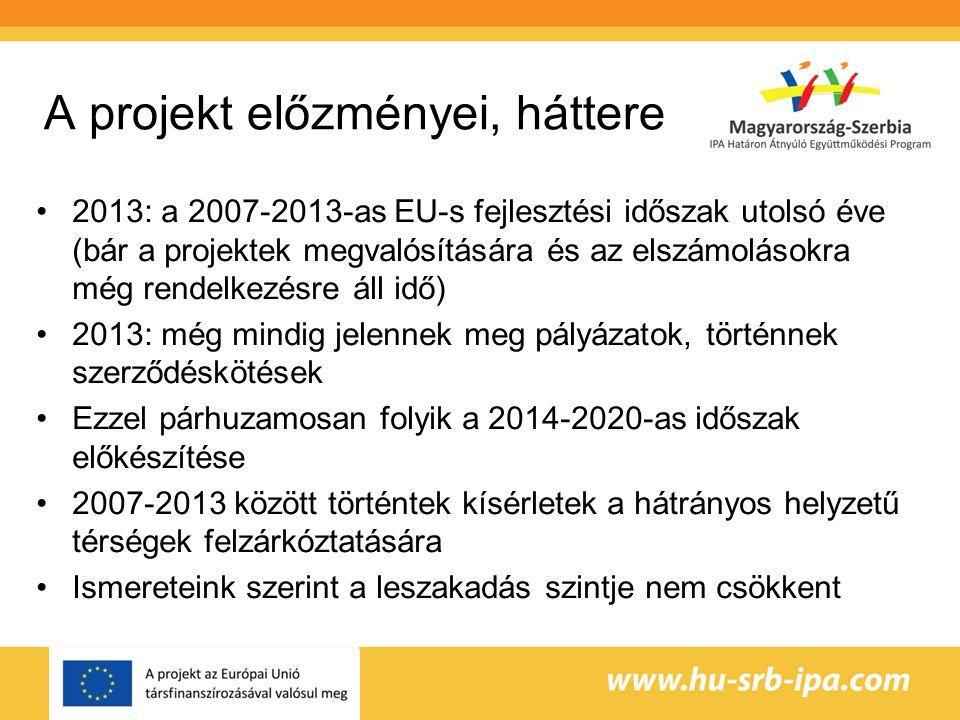 A projekt előzményei, háttere Szerbia az EU-s csatlakozás kapujában: számos közös határmenti projekt, melyben magyarországi szervezetek támogatják szerbiai partnereiket a felkészülésben A szerb szereplők érdeke az EU-s módszertan minél teljesebb elsajátítása A lemaradó, hátrányos helyzetű térségek (sokszor határmenti területek) a szegénység és leszakadás veszélyeit hordozzák A folyamat lassításához, megállításához tudatos területi tervezésre van szükség a határmenti területek esetében