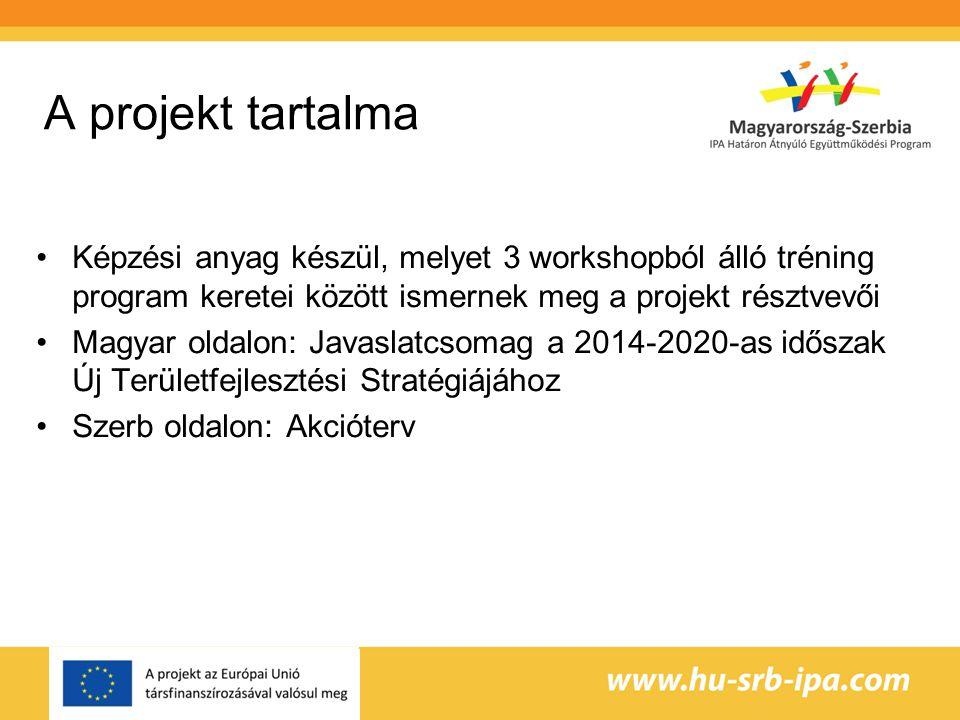 A projekt tartalma Képzési anyag készül, melyet 3 workshopból álló tréning program keretei között ismernek meg a projekt résztvevői Magyar oldalon: Javaslatcsomag a 2014-2020-as időszak Új Területfejlesztési Stratégiájához Szerb oldalon: Akcióterv