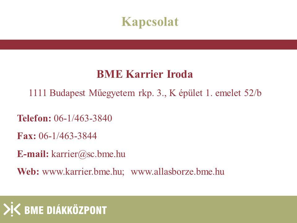 Kapcsolat BME Karrier Iroda 1111 Budapest Műegyetem rkp. 3., K épület 1. emelet 52/b Telefon: 06-1/463-3840 Fax: 06-1/463-3844 E-mail: karrier@sc.bme.