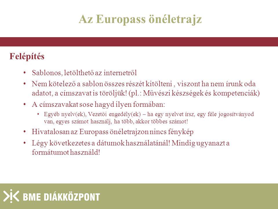 Az Europass önéletrajz Felépítés Sablonos, letölthető az internetről Nem kötelező a sablon összes részét kitölteni, viszont ha nem írunk oda adatot, a címszavat is töröljük.
