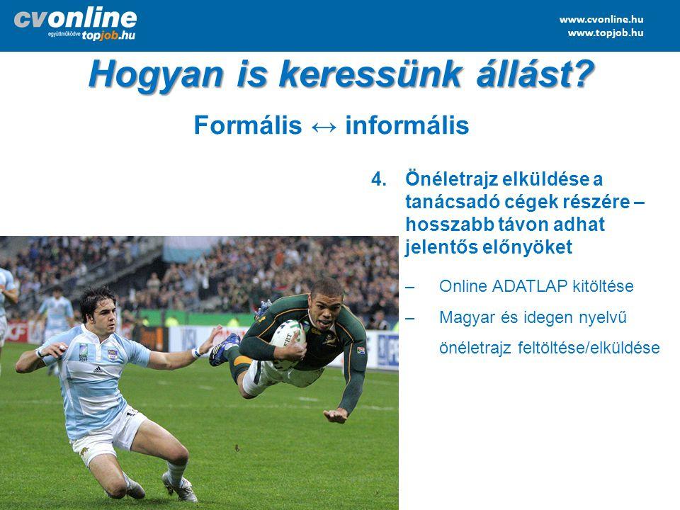 www.cvonline.hu www.topjob.hu 4.Önéletrajz elküldése a tanácsadó cégek részére – hosszabb távon adhat jelentős előnyöket –Online ADATLAP kitöltése –Ma