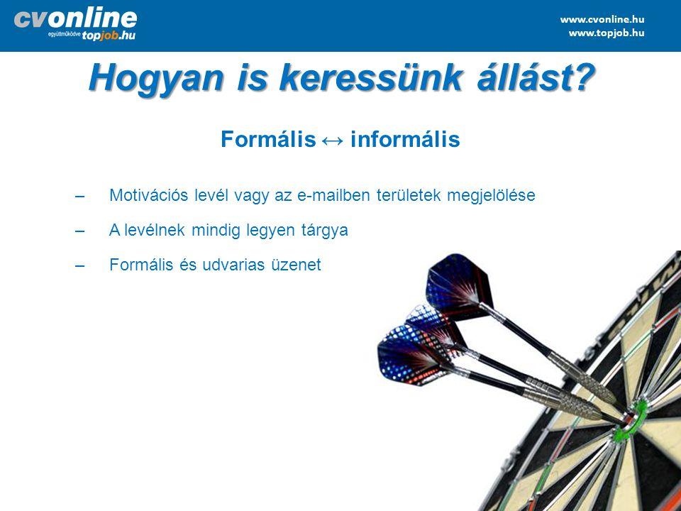www.cvonline.hu www.topjob.hu Hogyan is keressünk állást? Formális ↔ informális –Motivációs levél vagy az e-mailben területek megjelölése –A levélnek