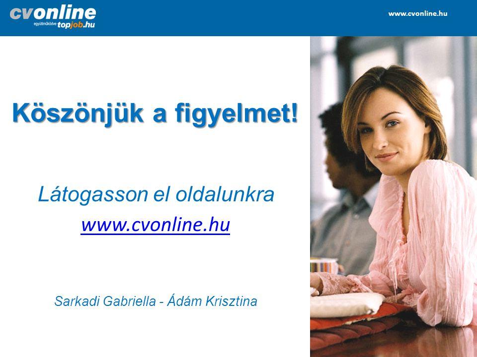 www.cvonline.hu www.topjob.hu www.cvonline.hu www.topjob.hu Köszönjük a figyelmet! Látogasson el oldalunkra www.cvonline.hu Sarkadi Gabriella - Ádám K