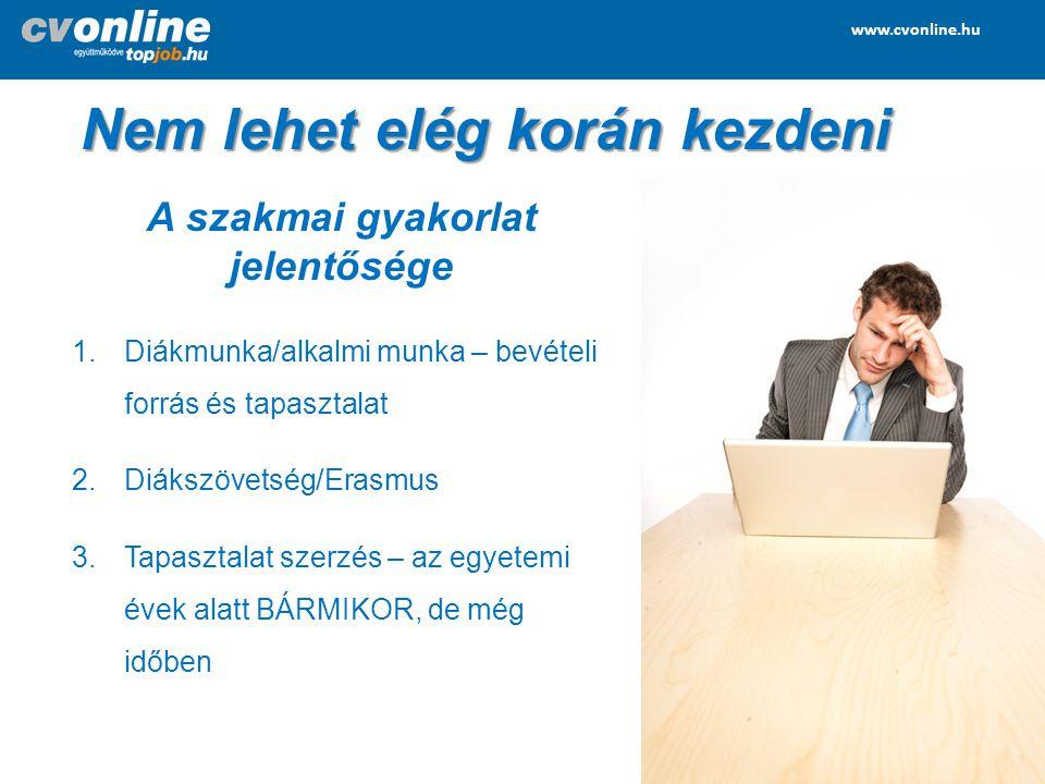 www.cvonline.hu www.topjob.hu Nem lehet elég korán kezdeni 1.Realitások figyelembe vétele – kereslet ↔ kínálat 2.Szakmai jelleg – sokan nem tudnak fizetni Ha sokáig tart a keresés változtatni kell.