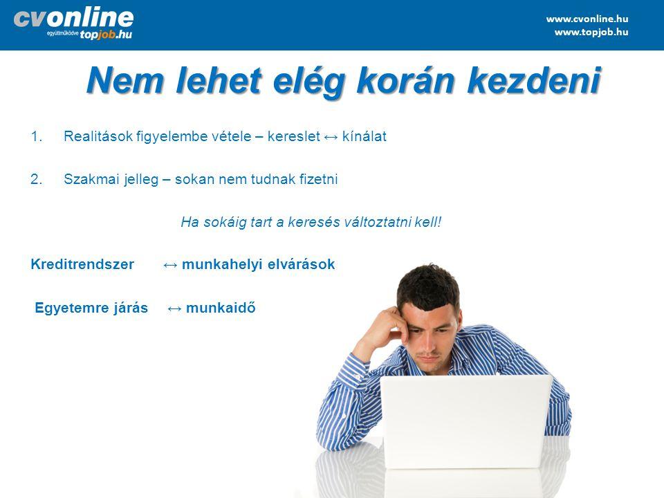www.cvonline.hu www.topjob.hu Nem lehet elég korán kezdeni 1.Realitások figyelembe vétele – kereslet ↔ kínálat 2.Szakmai jelleg – sokan nem tudnak fiz
