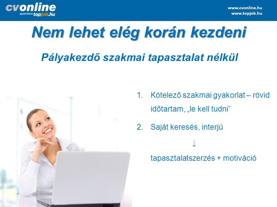 """www.cvonline.hu www.topjob.hu Nem lehet elég korán kezdeni 1.Kötelező szakmai gyakorlat – rövid időtartam, """"le kell tudni"""" 2.Saját keresés, interjú ↓"""