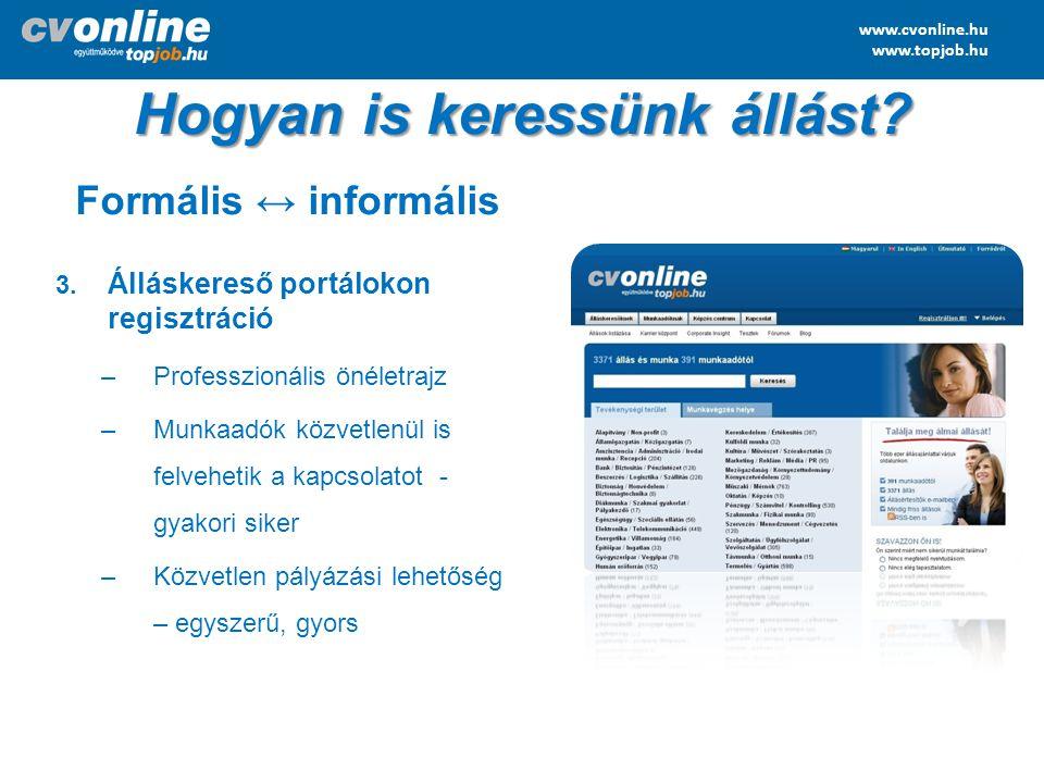 www.cvonline.hu www.topjob.hu Hogyan is keressünk állást? Formális ↔ informális 3. Álláskereső portálokon regisztráció –Professzionális önéletrajz –Mu