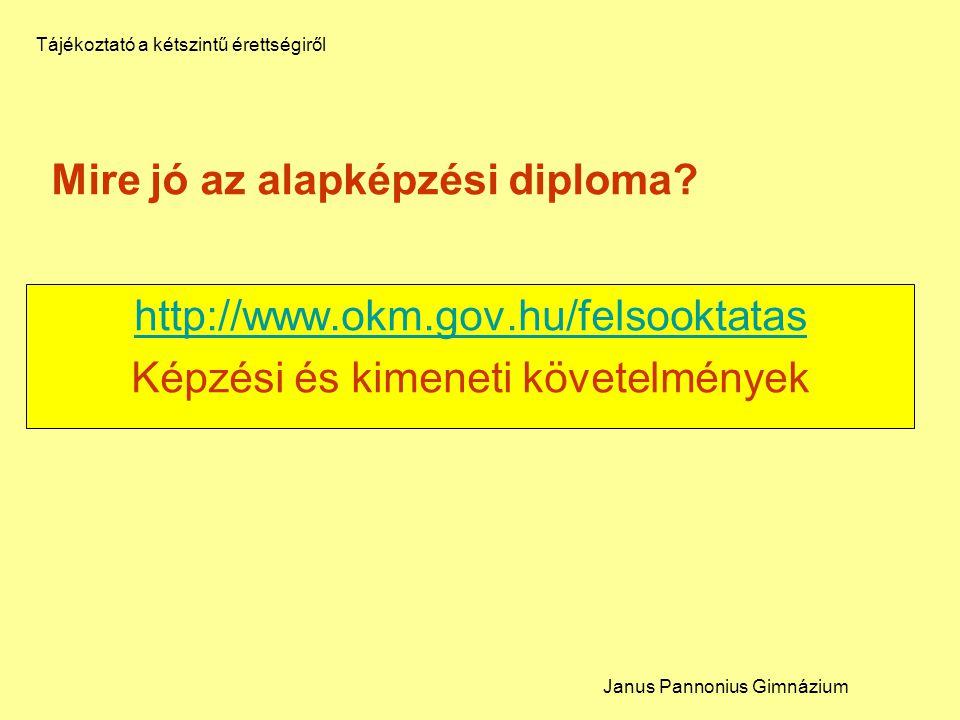 Mire jó az alapképzési diploma? http://www.okm.gov.hu/felsooktatas Képzési és kimeneti követelmények Janus Pannonius Gimnázium Tájékoztató a kétszintű