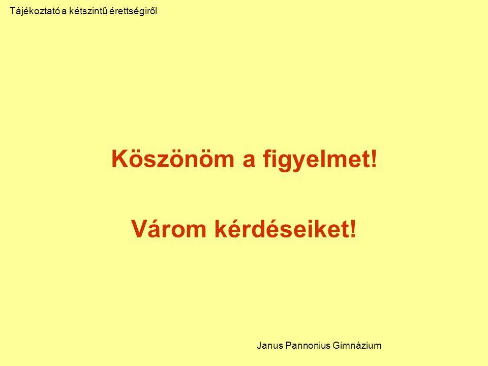 Köszönöm a figyelmet! Várom kérdéseiket! Tájékoztató a kétszintű érettségiről Janus Pannonius Gimnázium