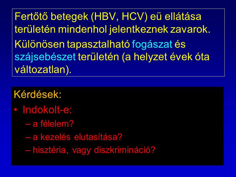 Az orvosok szakellátás elutasításának feltételezett okai OEK által verifikált HCV, HVB fertőzött orvosok tevékenységét a 9/2002.