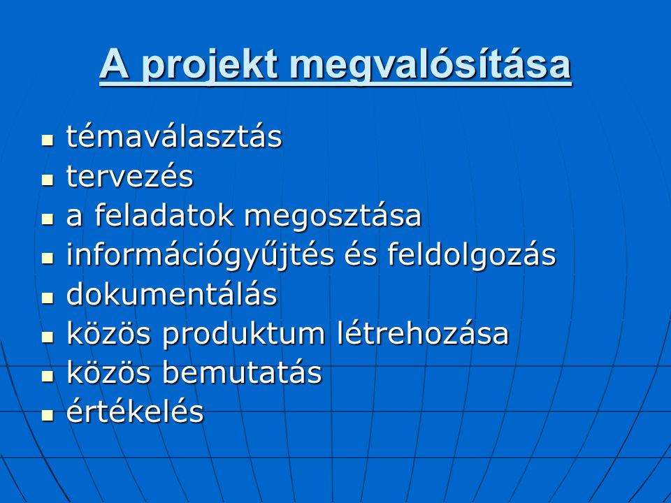 A projekt megvalósítása témaválasztás témaválasztás tervezés tervezés a feladatok megosztása a feladatok megosztása információgyűjtés és feldolgozás i