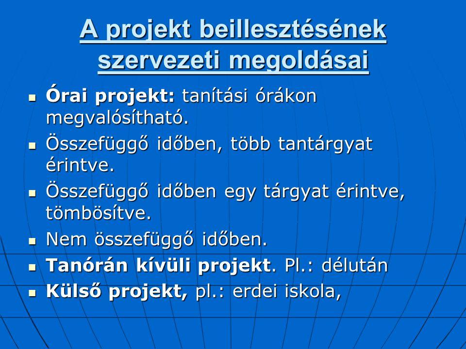 A projekt beillesztésének szervezeti megoldásai Órai projekt: tanítási órákon megvalósítható. Órai projekt: tanítási órákon megvalósítható. Összefüggő