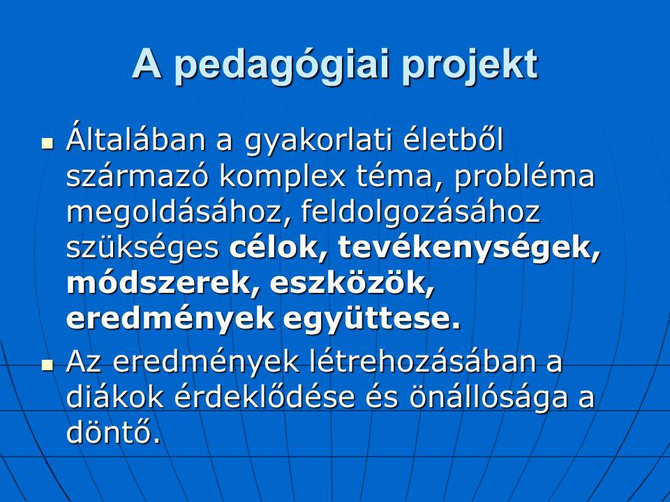A pedagógiai projekt Általában a gyakorlati életből származó komplex téma, probléma megoldásához, feldolgozásához szükséges célok, tevékenységek, móds