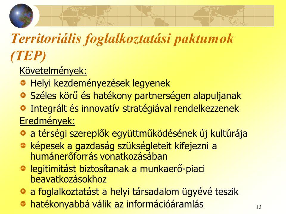 13 Territoriális foglalkoztatási paktumok (TEP) Követelmények: Helyi kezdeményezések legyenek Széles körű és hatékony partnerségen alapuljanak Integrá