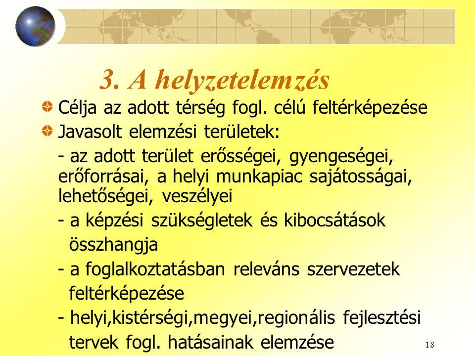 18 3. A helyzetelemzés Célja az adott térség fogl. célú feltérképezése Javasolt elemzési területek: - az adott terület erősségei, gyengeségei, erőforr